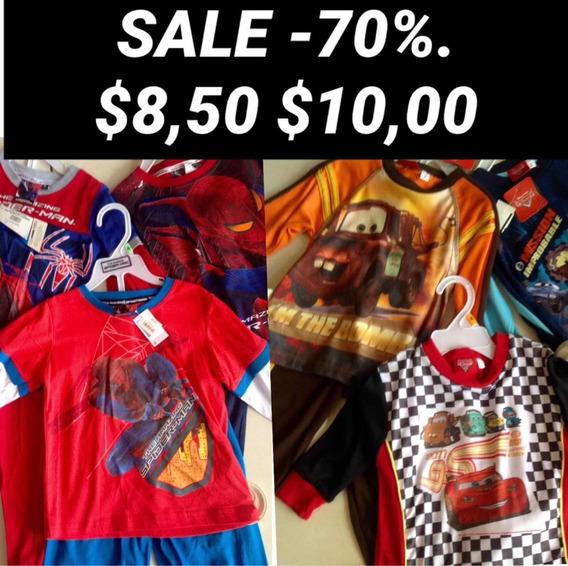 Pijamas Niño Spiderman Y Cars $8,50 Y $10