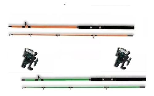 Imagen 1 de 2 de Combo 2 Cañas 2,40 Cm + 2 Reel 3bb Con Naylon