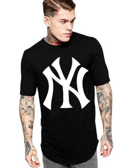 Camiseta Long Line Oversized Masculina Preta Nfl New York
