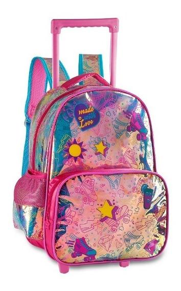 Mochila Escolar Clio Infantil De Rodinha Holografica Lv2141k