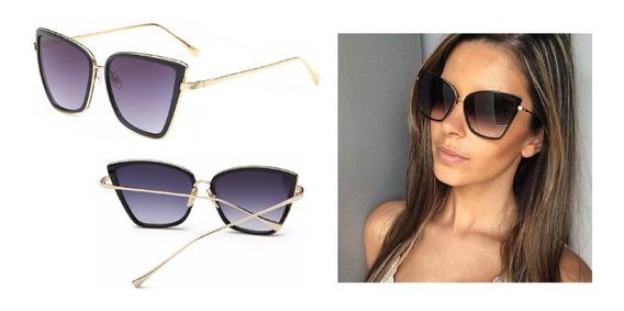 Óculos De Sol Feminino Olho De Gato Gatinho Luxo
