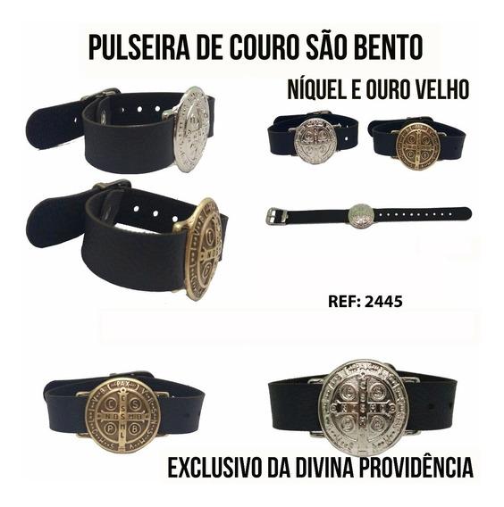 Pulseira Couro Medalha São Bento - Lançamento 2018