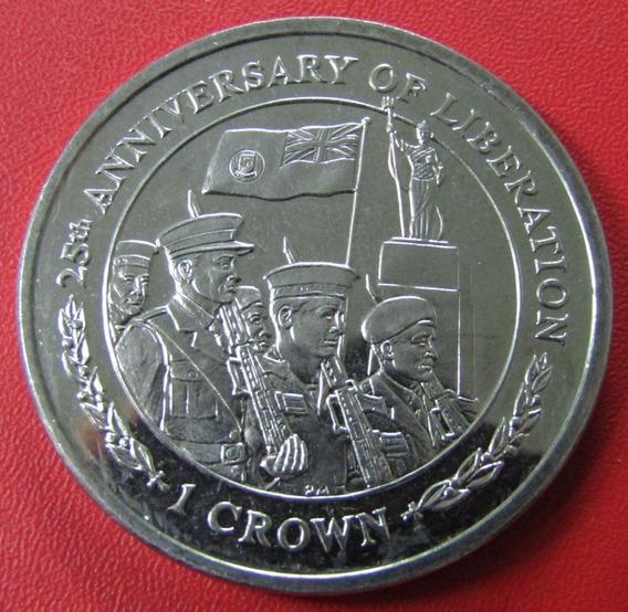 Islas Malvinas Moneda 1 Crown 2007 Unc 25º Aniv Liberacion