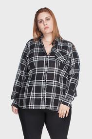 Camisa Xadrez 100% Algodão Plus Size Preto-48