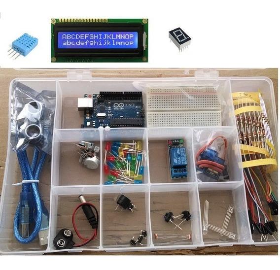 Kit Aduino Iniciante Start Uno Protoboard Servo Sensor Caixa