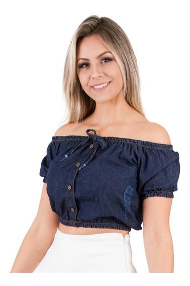 Blusa Cropped Jeans Ombro A Ombro Ciganinha Verão