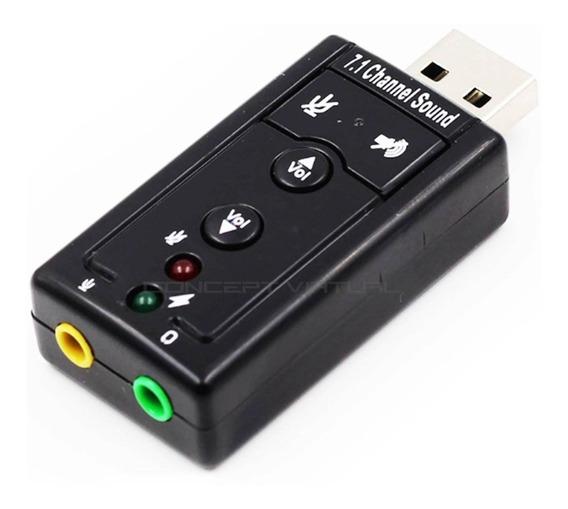 Placa De Som Usb 7.1 Canais Adaptador Audio Fone Ouvido + Nf
