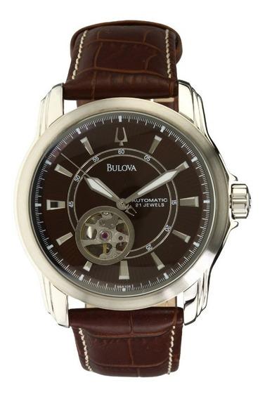 Relógio Luxo Bulova 96a108 Orig Bva100 Mec Autom Couro!!!