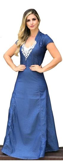 Roupas Femininas Moda Evangélica Vestido Longo Renda Bustos