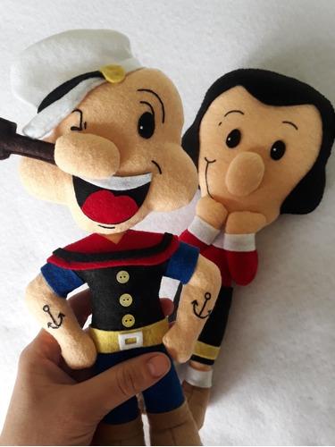 Imagen 1 de 3 de Muñeco Popeye El Marino Y Su Novia Olivia Fieltro De 30cm