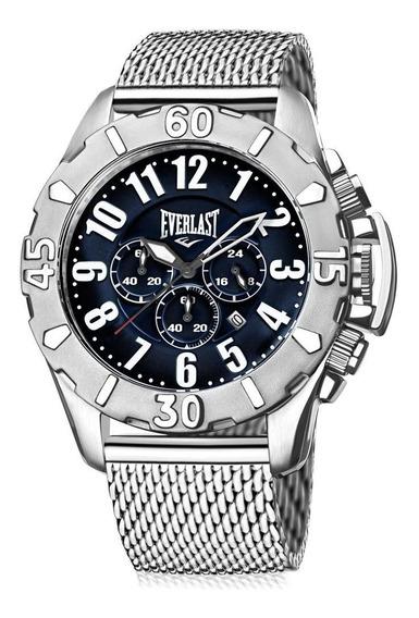 Relógio Everlast Masculino E25415 Cronógrafo Mesh Prateado