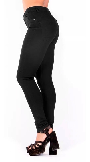 Jeans Negro Botón Delantero Pretina Delgada, Bolsas Traseras