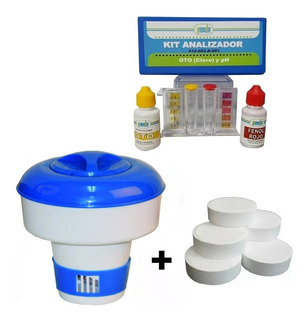 Kit Analizador + Tricloro Tabletas 3 PuLG 1 Kg Y Dispensador
