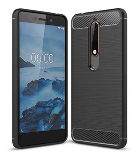 Funda Nokia 5.1 Plus Anti Golpes Carbono + Templado