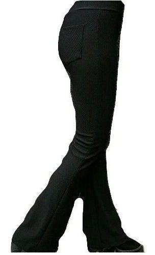 Calça Flare Piquet Bailarina Boca De Sino Tecido Grosso Moda