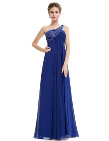 Vestido Largo Azul Gala Matrimonio /arany Joyas