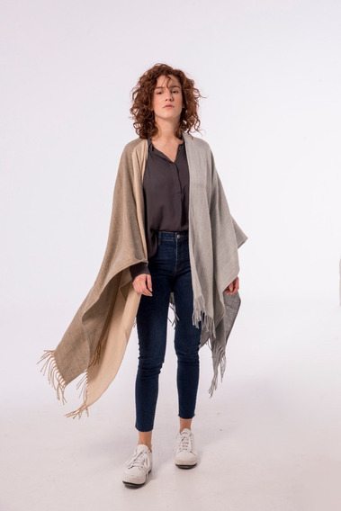 Ruana Burberry Poncho Manton Invierno Mujer Gris Patch