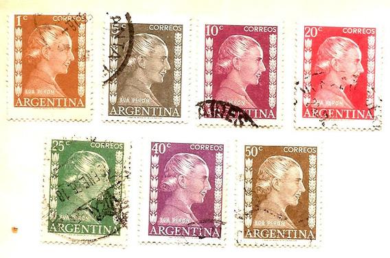 Argentina Lote Estampillas De Evita Año 1954 Eva Perón