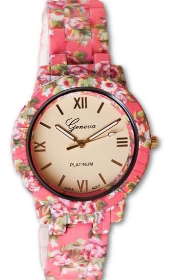 Relógio Feminino Geneva De Flor Rosa Primavera Oferta