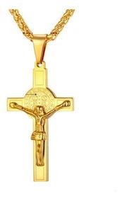 Colar Cordão Masculino Aço Inox Banhada Ouro 18k Crucifixo