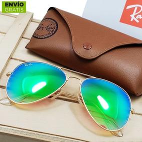 b96ccc85e4 Gafas Ray Ban Aviador Tornasol Originales Verde Envio Gratis