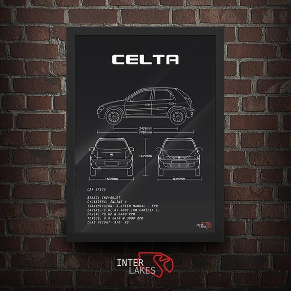 Quadro Chevrolet Celta G1 4 Portas - Poster Carro Interlakes