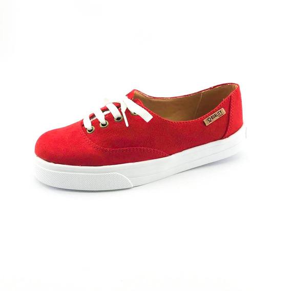 Tênis Quality Shoes Feminino 005 Camurça Vermelho