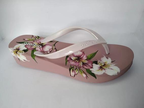 Chinelo Tamanco Feminino Anabela Azaléia Floral