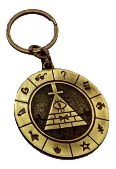 Chaveiro Gravity Falls Bill Chipher Em Metal Dourado