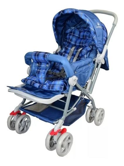 Carrinho Bebê Vira Berço Azul Menino Com Alça Reversível