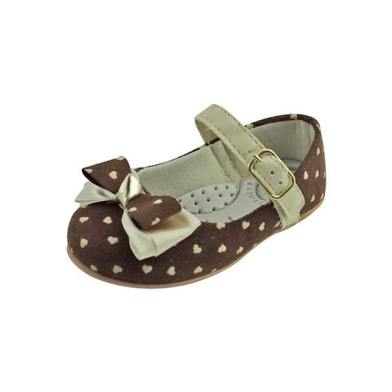 Sapato Boneca Baby Com Laçoe Coração - Marrom