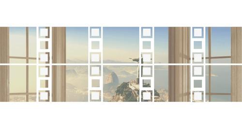 Espelho Acrílico Decorativo Quadrados 95x30 - Promoção