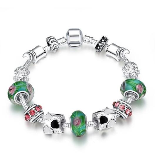 Pulseira Estilo Pandora Vivara + Berloques Verde Prata Rosa
