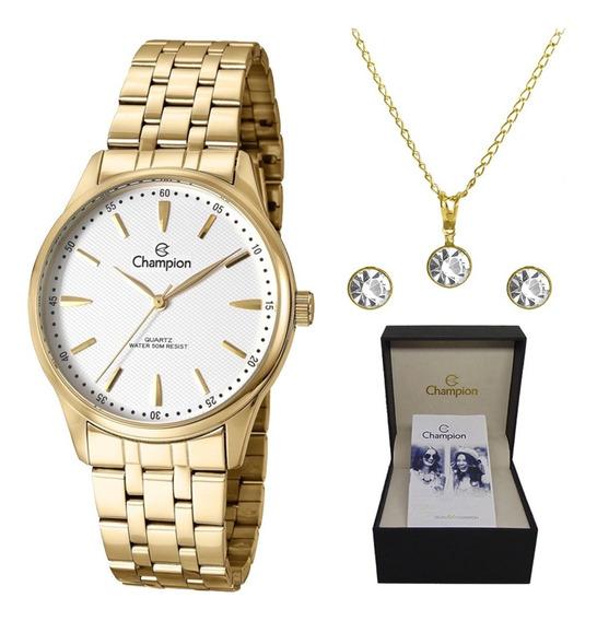 Kit Relógio Champion Dourado Feminino Cn29516w Original + Nf