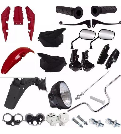 Kit Plástico Carenagem Guidao Fan125 2011 2012 2013 Vermelho