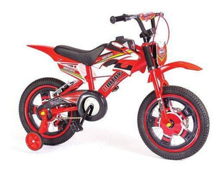 Bicicleta Infantil Moto Aro 16 Amarela Luxo Vermelha