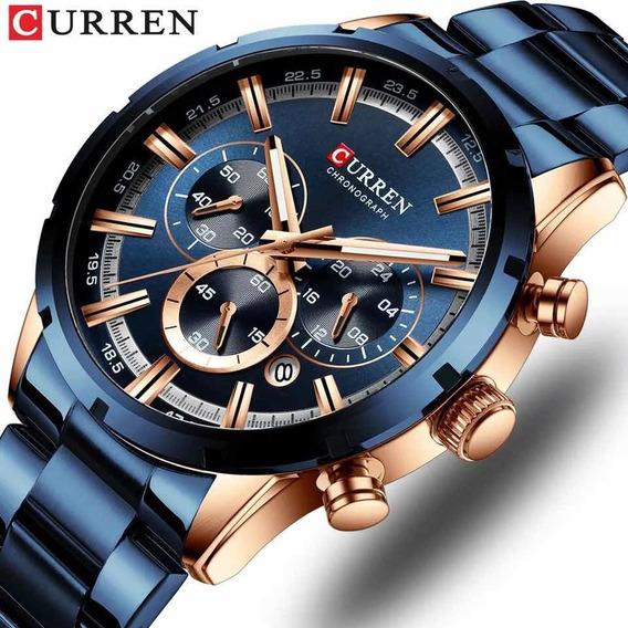 Relógio Masculino Curren Top Original Lançamento Azul