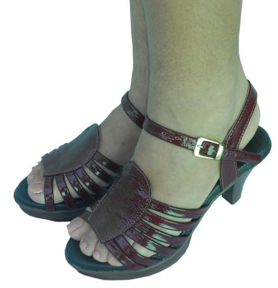 Peep Toes Vinho Couro Sapato Feminino Magnética Magnu