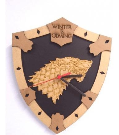 Relógio De Parede Mdf Gravado - Game Of Thrones - Stark