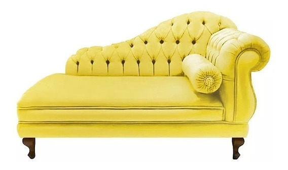Recamier Divã Namoradeira Sofá Juliana 160 Cm Sued Amarelo