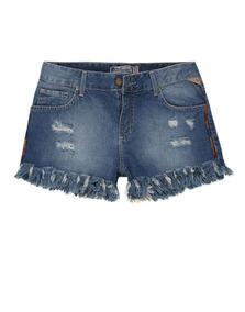 Shorts Jeans Feminino Bordado Barra Desfiada