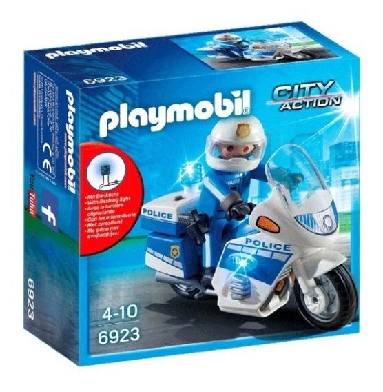 Playmobil - Policía En Moto Con Luces