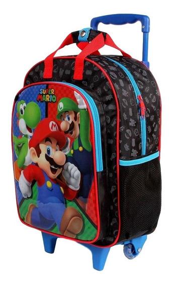 Mochila Escolar Infantil Rodinhas Super Mario Bros Dermiwil