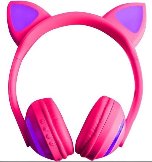 Headphone Bluetooth Orelha De Gatinho Com Entrada P2 E Leds