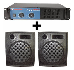 Kit Amplificador Pa-600 + 2 Caixas Acústicas Music Way 12pol