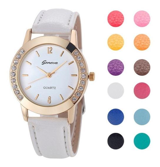 Kit 8 Relógios Feminino Geneva Platinum Strass Frete Grátis