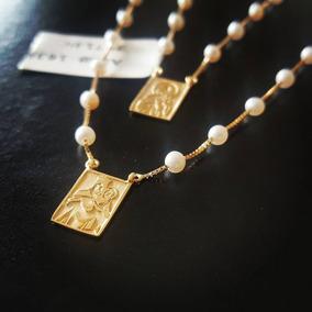 Escapulario Feminino Ouro 18k Circulado De Pérolas Naturais