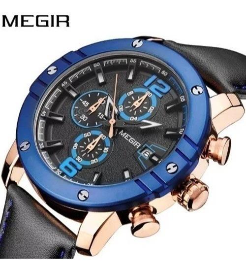 Relógio Masculino Azul Megir Elegante Cronos Luxo Esporte