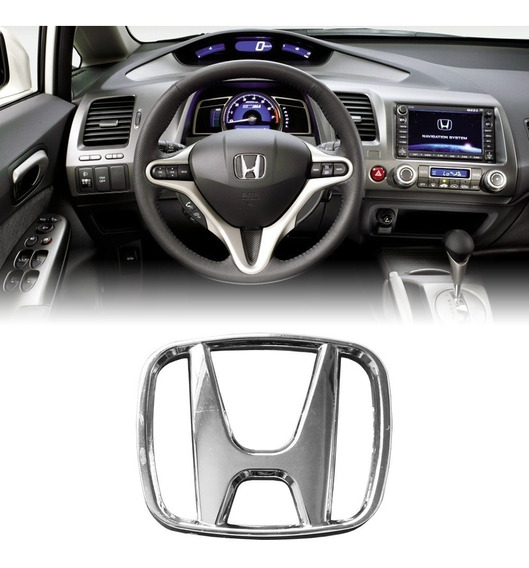 Emblema Do Volante Cromado Honda New Civic, City E Fit