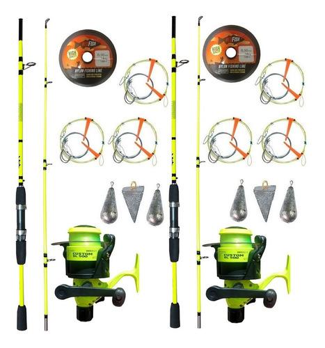 2 Combos De Pesca Con Cañas 2.10 Y 2.40mts + Accesorios